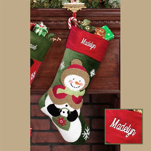 Tufted Mrs Snowman Stocking Green