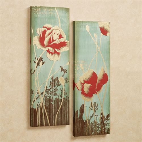 Lila Rose Floral Canvas Set Aqua Set of Two