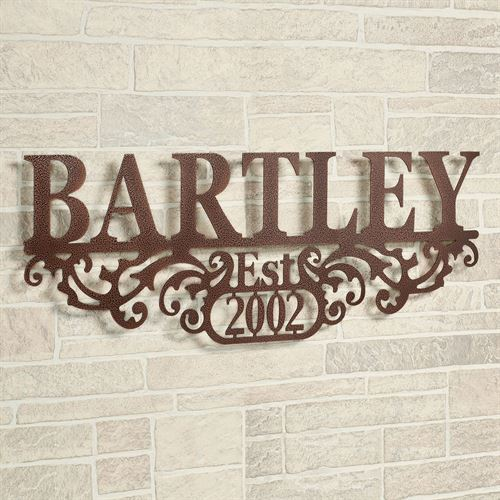 High Quality Kinship Name And Year Wall Art Sign Brown