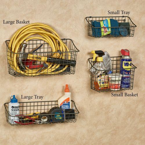 Small and Large Basket Set Gun Metal Basket Set of Two