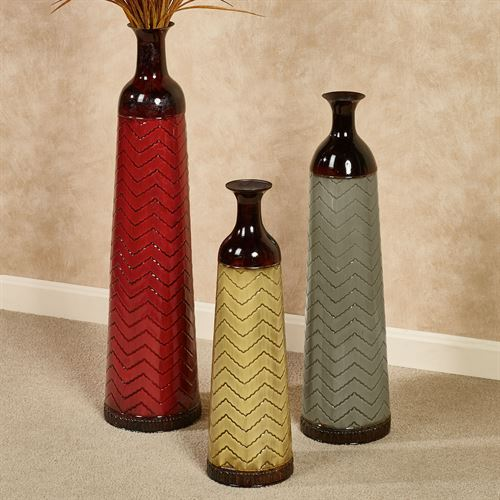 Chevron Floor Vases Multi Jewel Set of Three
