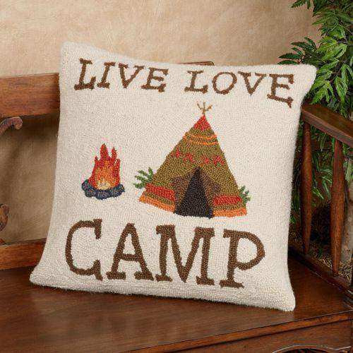 Live Love Camp Decorative Pillow Multi Warm 18 Square