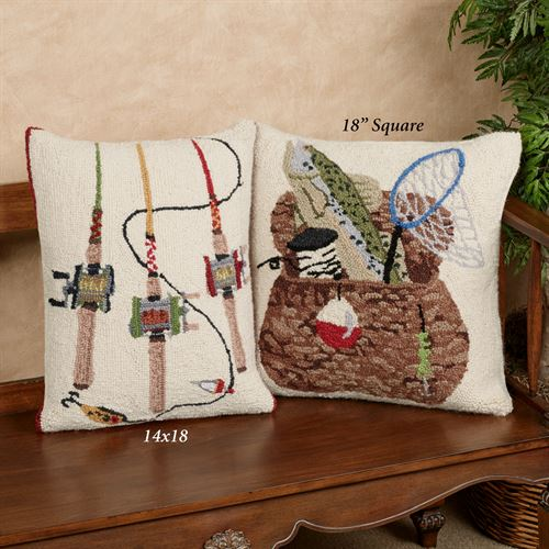 Fishing Rods Rectangle Decorative Pillow Multi Warm 14 x 18