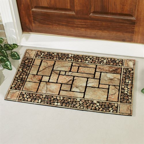 Patio Stone Rubber Doormat Natural 30 x 18
