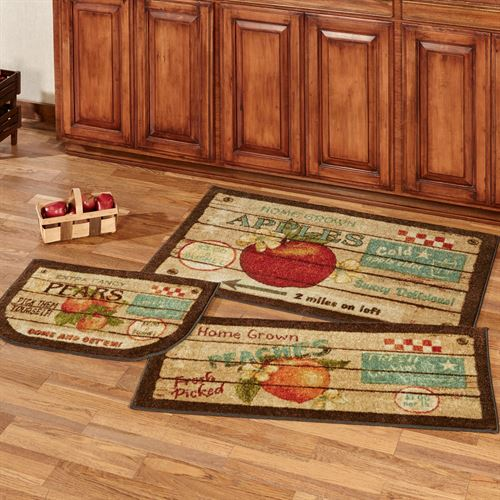 Fruit Crate Accent Rugs Multi Warm Three Piece Set