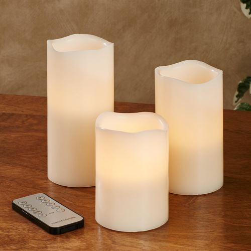 Tali LED Flameless Candles Ivory Set of Three