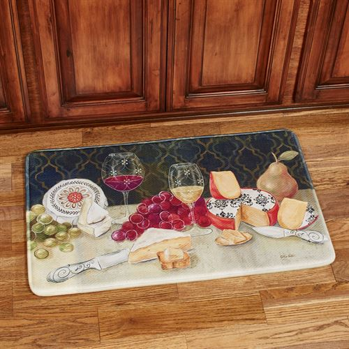 Cheese with Wine Rectangle Mat Multi Warm 35 x 23