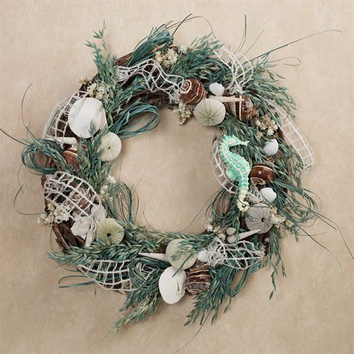 St Martin Beach Grass Seashell Coastal Wreath