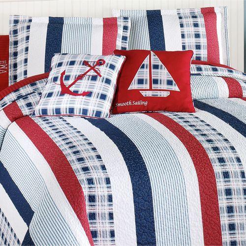 Hatteras Stripe Quilted Sham White