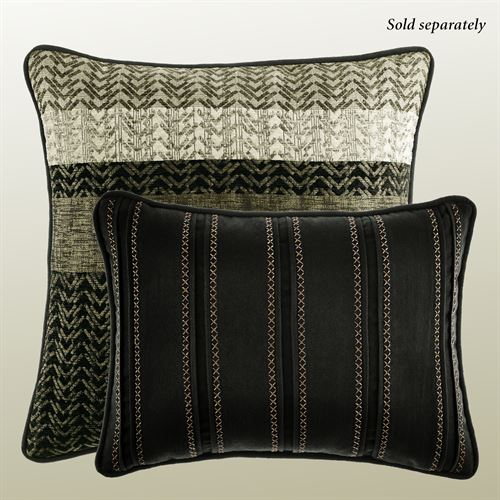 Portland Piped Rectangle Pillow Black