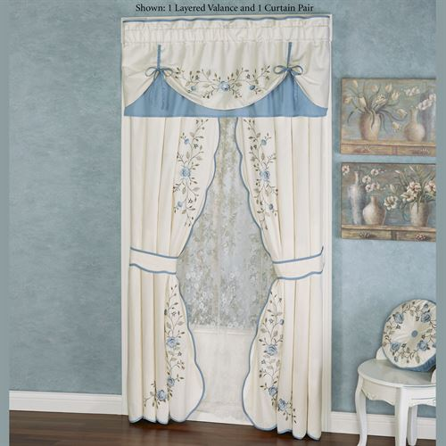 Antique Charm Layered Valance Dusty Blue 60 x 18