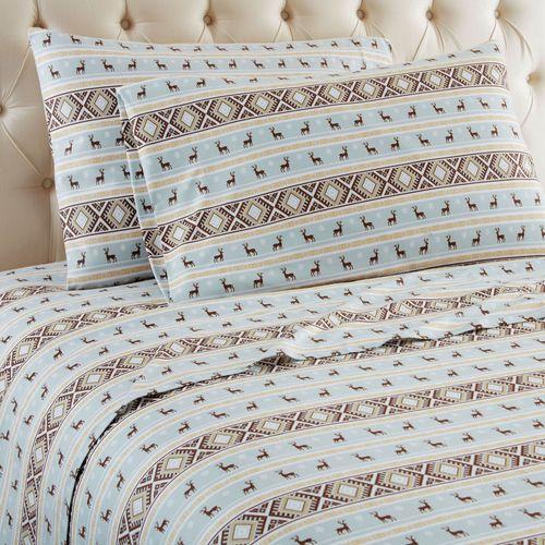 Reindeer Stripe Sheet Set White