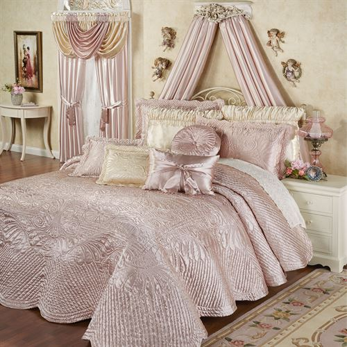 Portia Ii Rose Quartz Quilted Oversized Bedspread Bedding