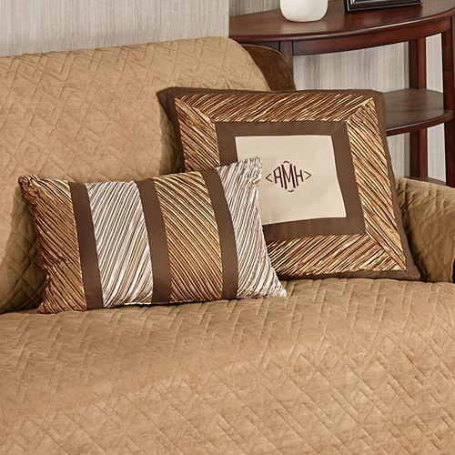 Delta Pleated Pillow Bronze Rectangle