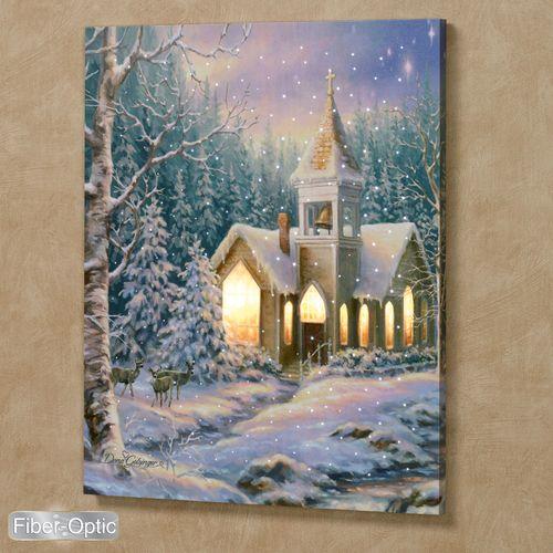 Christmas Chapel Lighted Canvas Wall Art Multi Earth