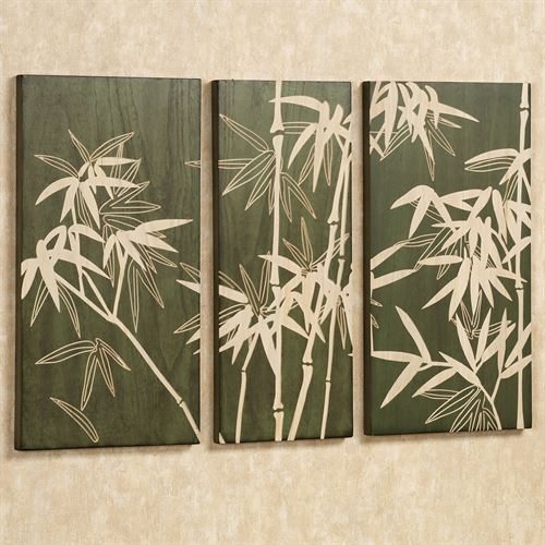 Bamboo Grove Triptych Wall Art Set Green Set Of Three