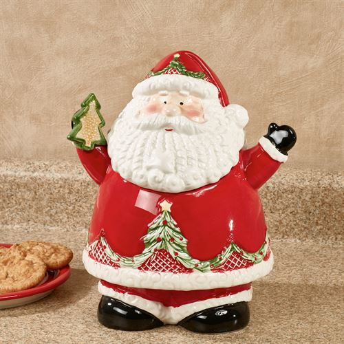 Santa Claus Cookie Jar Red