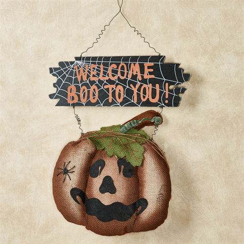 Welcome Jack o Lantern Wall Hanging Orange