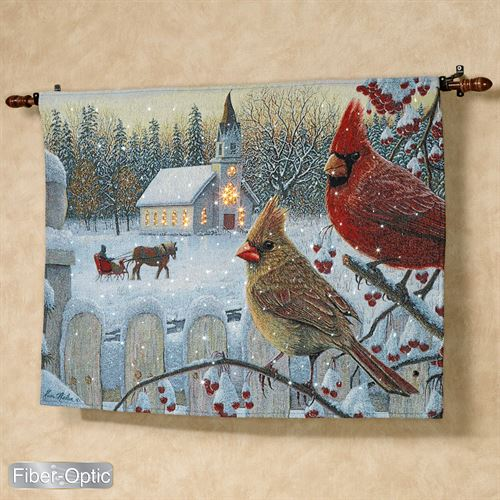 White Crimson Morning Lighted Wall Tapestry Multi Warm