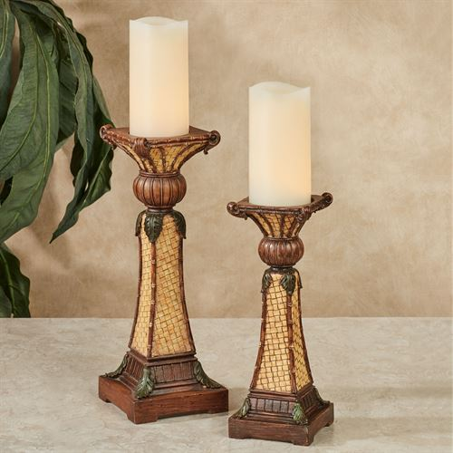 Bamboo Exotics Candleholders Natural Set of Two