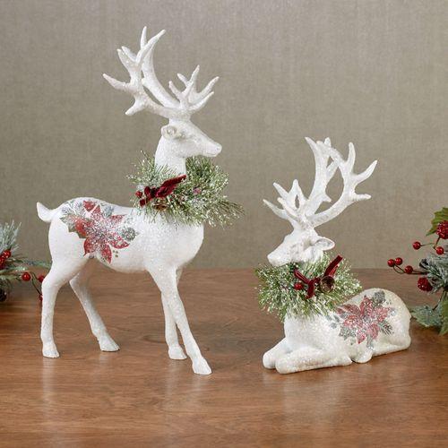 Poinsettia Deer Figures White Set of Two