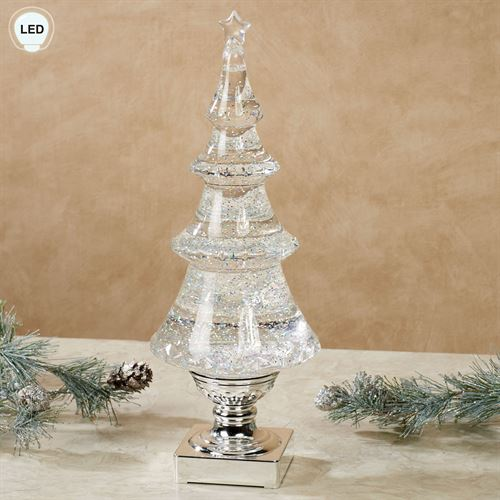 Table Top Lighted Christmas Tree: Swirling Glitter LED Christmas Tree Table Accent By Roman