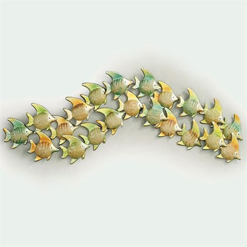 Angelfish Wave Wall Sculpture Green