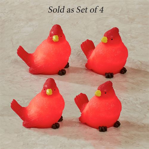 Cardinal Shaped LED Candles Red Four Piece Set