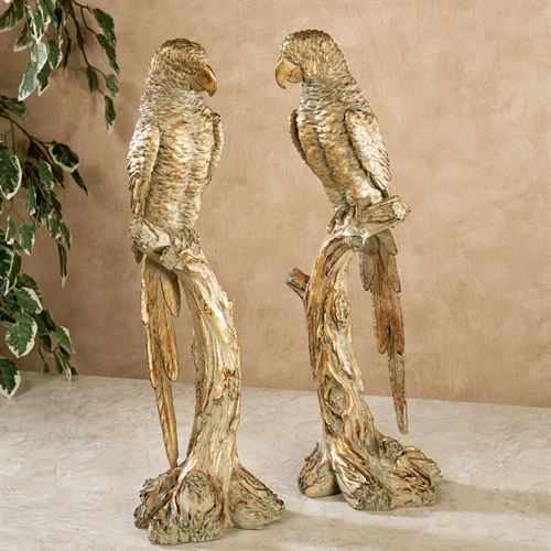 Parrot on Branch Table Sculptures Gold Set of Two