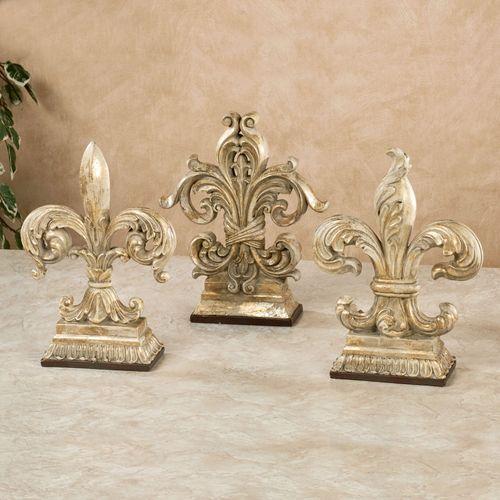 Ornate Fleur de Lis Tabletop Finials Gold Set of Three