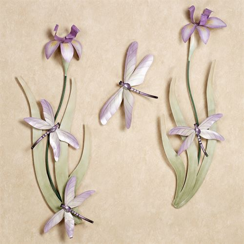 Dragonflies Iris Blooms Wall Sculpture Set Lilac Set of Three