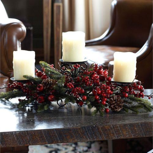 Pine Berry Holiday Candelabra Centerpiece Red