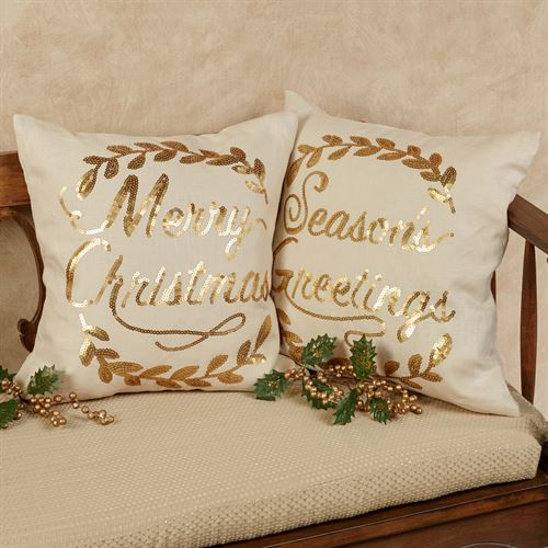 Merry Christmas Wreath Accent Pillow Light Cream 16 Square