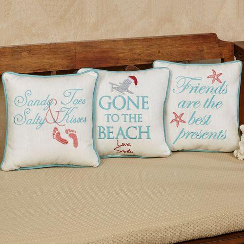 Coastal Holiday Decorative Pillows Off White Set of Three