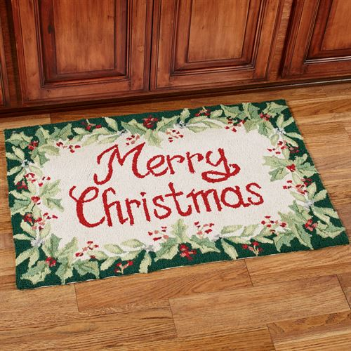 Merry Christmas Accent Rug Green 3 x 2