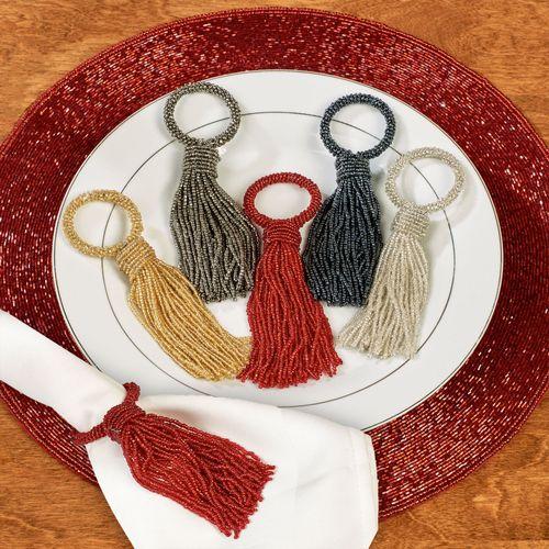 Beaded Tassel Napkin Rings Set of Four