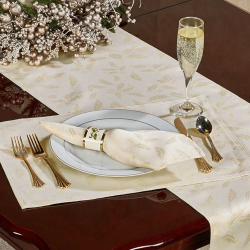Lenox Holly Shimmer Placemats Ivory Set of Four
