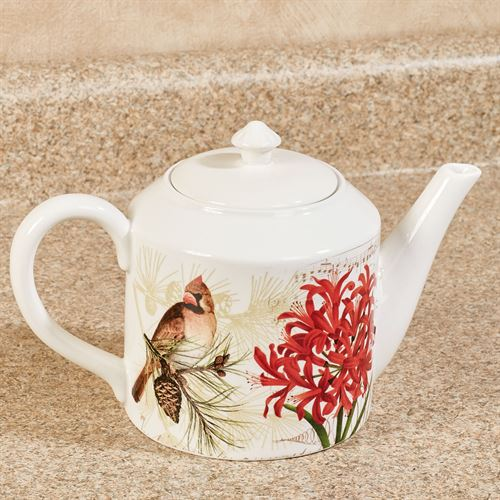 Nature Sings Teapot Red