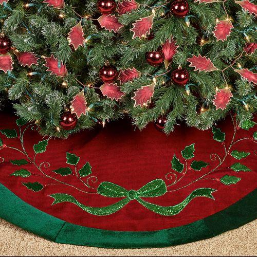 Christmas Splendor Tree Skirt Burgundy 48 Diameter