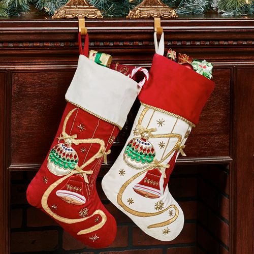 elegant ornament embellished christmas stocking set