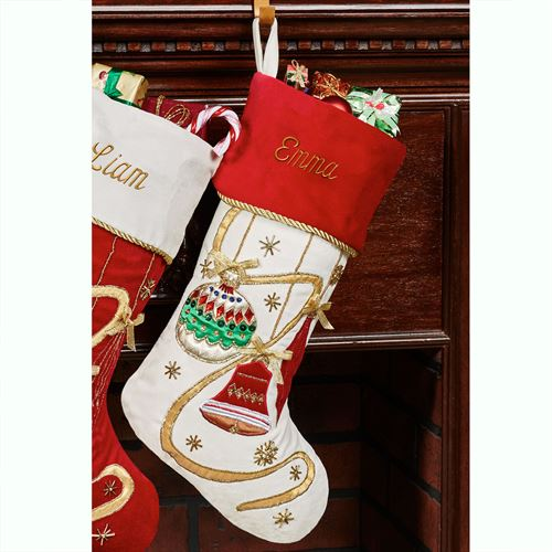 Elegant Ornament Christmas Stocking with Red Cuff Off White