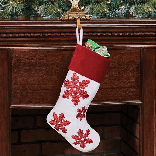 Shimmer Snowflake Christmas Stocking with Dark Red Cuff White