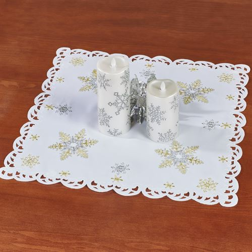 Snowflake Shimmer Small Table Topper White 20 Square