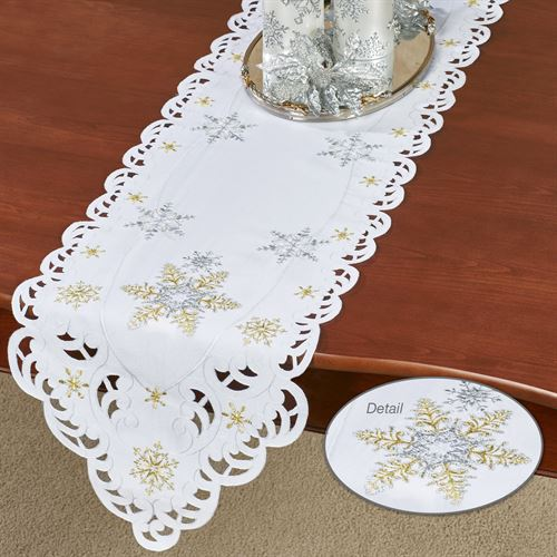 Snowflake Shimmer Long Table Runner White 13 x 65
