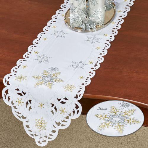 Snowflake Shimmer Long Table Runner White 13 x 65