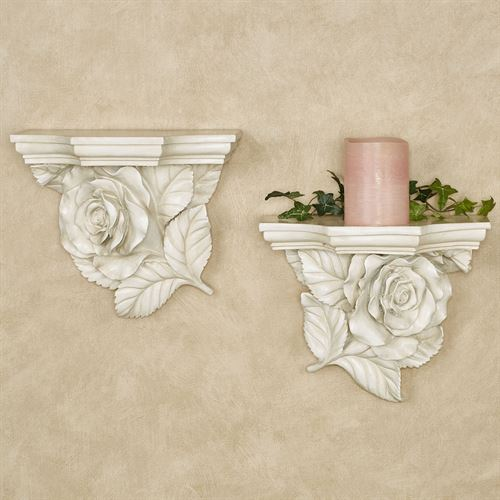 Rose Wall Shelves Antique White Set of Two