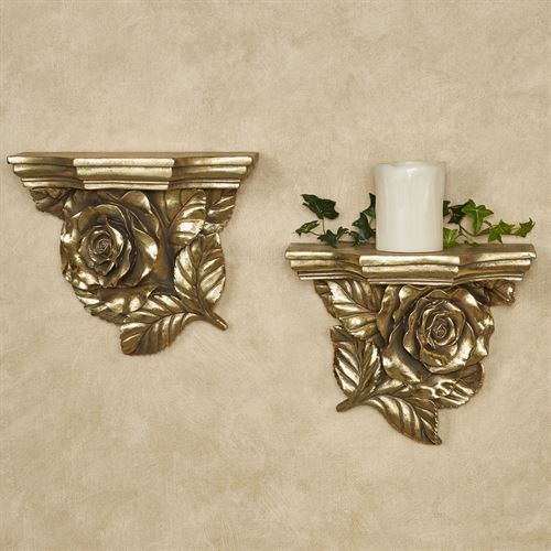 Rose Wall Shelves Gold Set of Two