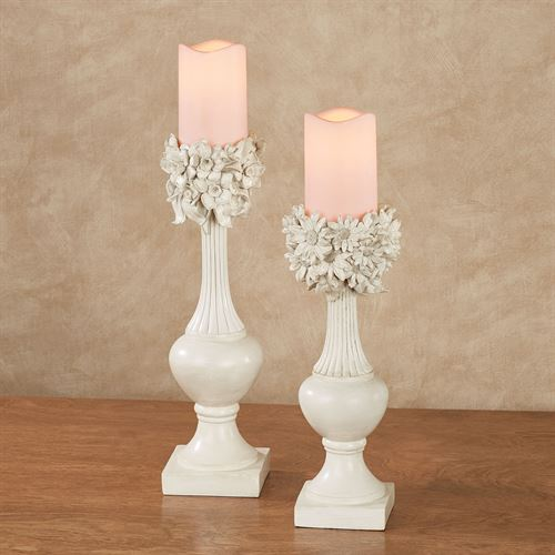 Daisies and Daffodils Floral Candleholders Ivory Set of Two