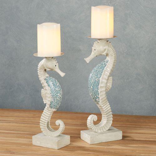 Seahorse Mosaics Candleholders Blue Set of Two