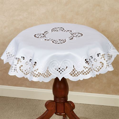 Classic Hearts Round Table Topper White 36 Diameter